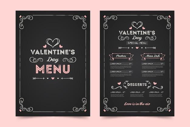 Plantilla de menú del día de san valentín dibujada a mano vector gratuito