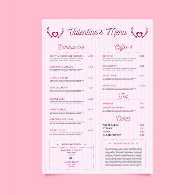 Plantilla de menú de día de san valentín de diseño plano vector gratuito
