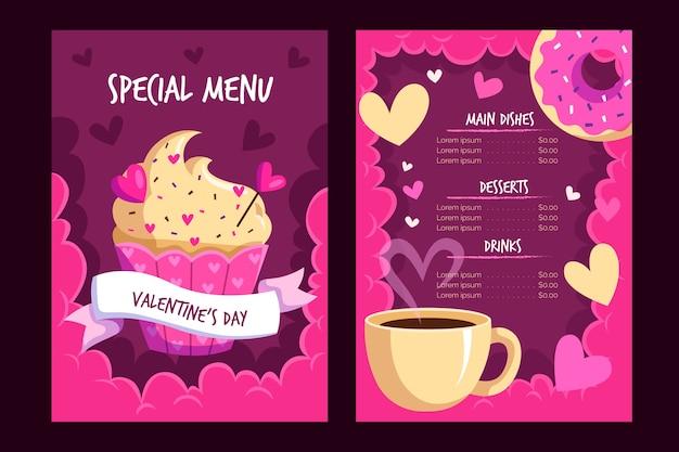 Plantilla de menú del día de san valentín vector gratuito