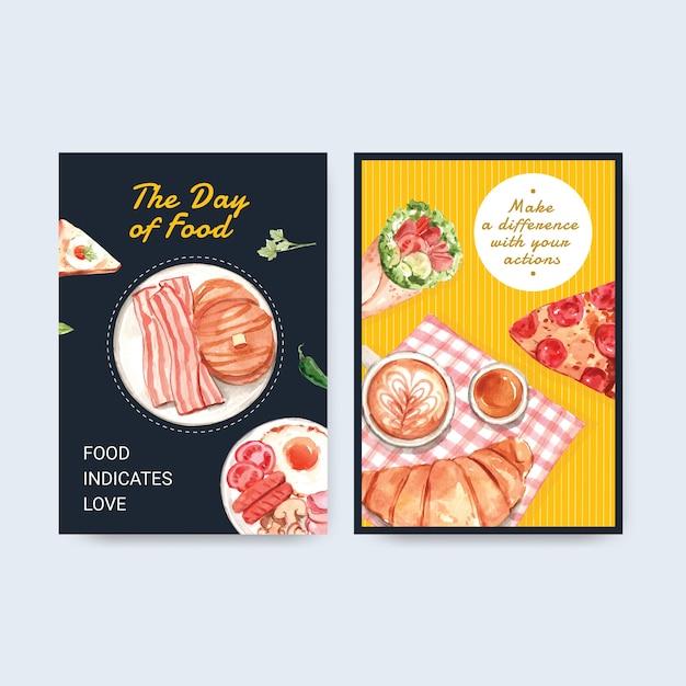 Plantilla de menú con diseño de concepto del día mundial de la alimentación para acuarela de restaurante y tienda de alimentos vector gratuito
