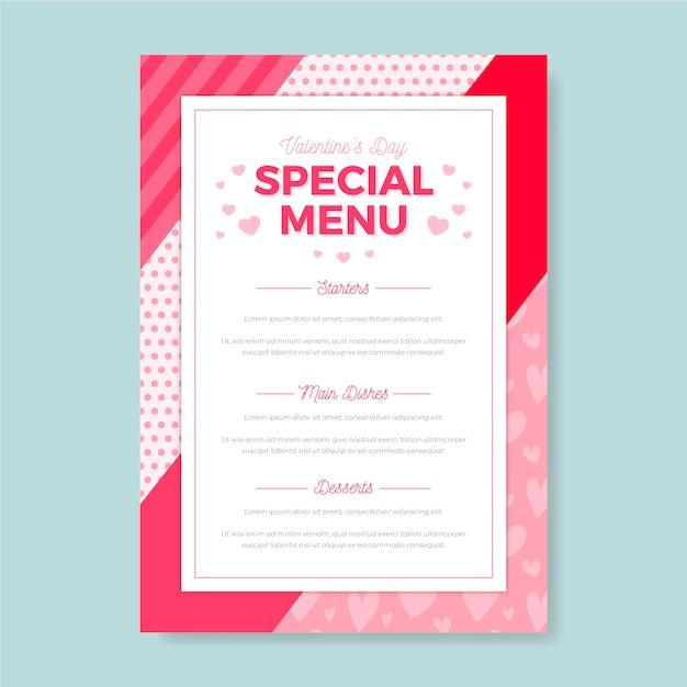 Plantilla de menú especial de san valentín vector gratuito