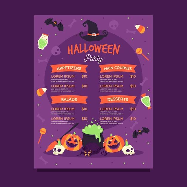 Plantilla de menú de halloween dibujada a mano vector gratuito