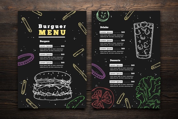 Plantilla de menú de hamburguesa dibujada a mano vector gratuito