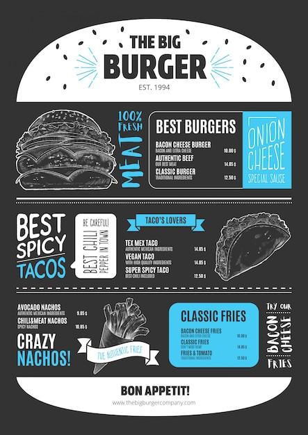 Plantilla de menú de hamburguesa en estilo pizarra vector gratuito