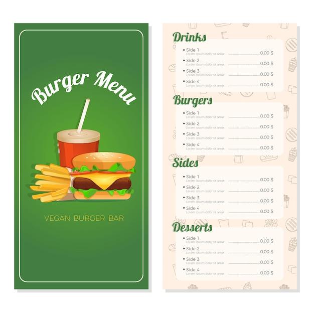 Plantilla de menú de hamburguesas para restaurante vector gratuito