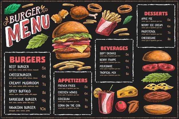 Plantilla de menú horizontal con hamburguesa y papas fritas vector gratuito