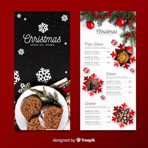 Plantilla de menú de navidad con foto vector gratuito