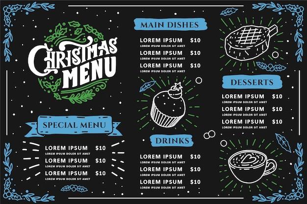 Plantilla de menú de navidad vintage vector gratuito
