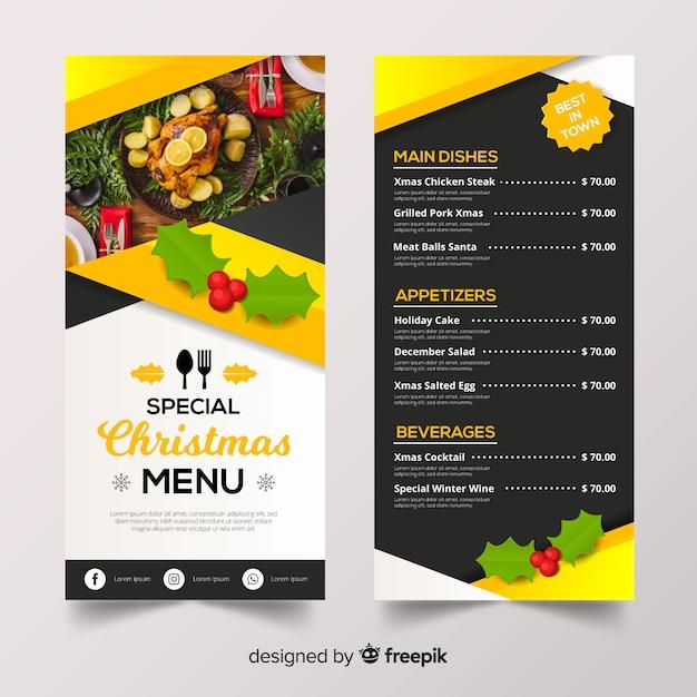 Plantilla de menú de navidad vector gratuito