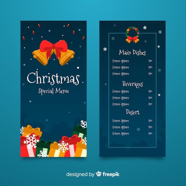 Plantilla de menú navideño con diseño plano vector gratuito