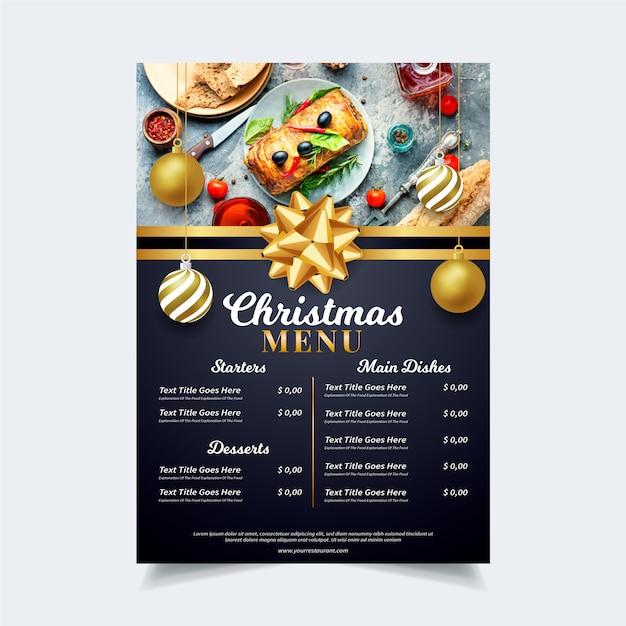 Plantilla de menú navideño con imagen vector gratuito