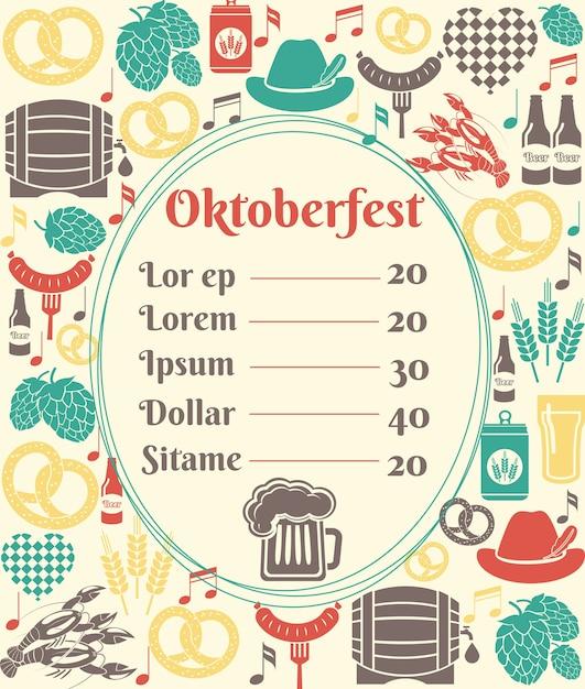 Plantilla de menú de oktoberfest con un marco ovalado que incluye una lista de precios rodeada de iconos de cerveza alemana en botellas puede jarra de cerveza barril de vidrio o barril de barril lúpulo salchicha de cebada y un pretzel vector gratuito