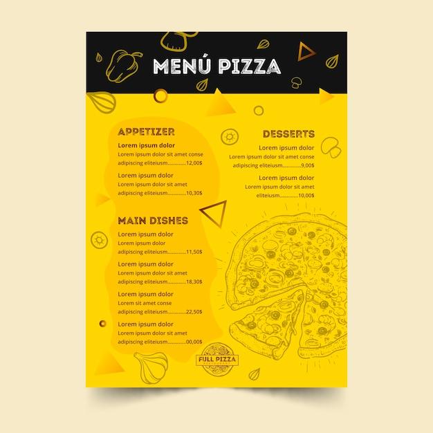 Plantilla de menú para pizzería vector gratuito