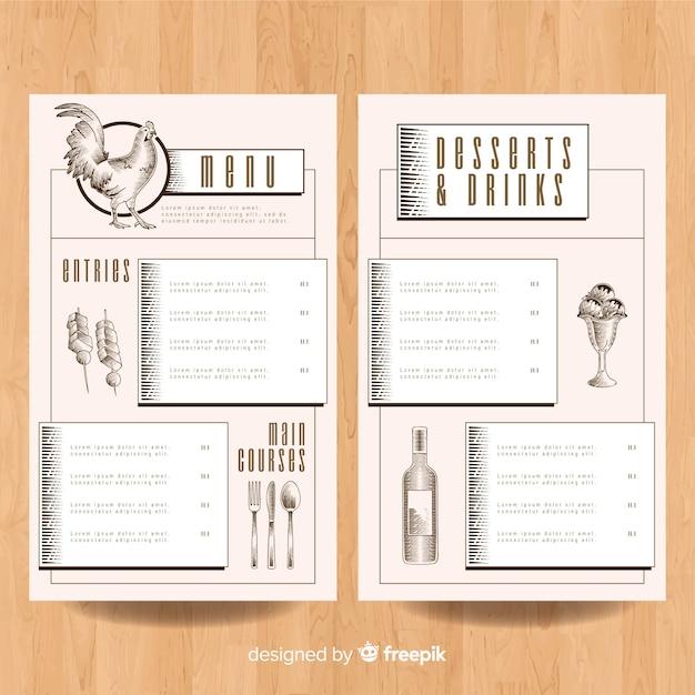Plantilla de menú de pollo dibujado a mano vector gratuito