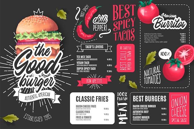 Plantilla de menú de restaurante americano con ilustraciones vector gratuito