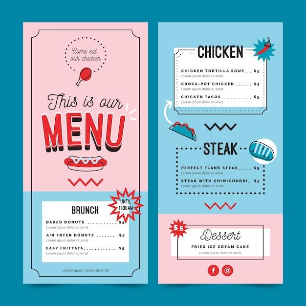 Plantilla de menú de restaurante azul y rosa vector gratuito