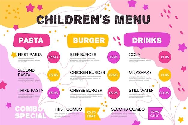Plantilla de menú de restaurante colorido en formato horizontal vector gratuito