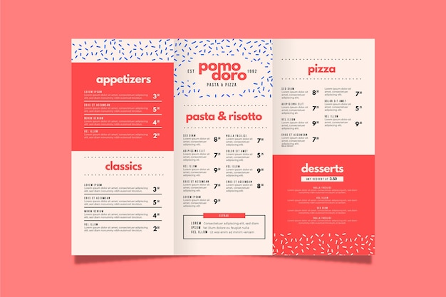 Plantilla de menú de restaurante colorido vector gratuito