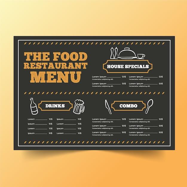 Plantilla de menú de restaurante con dibujos vector gratuito