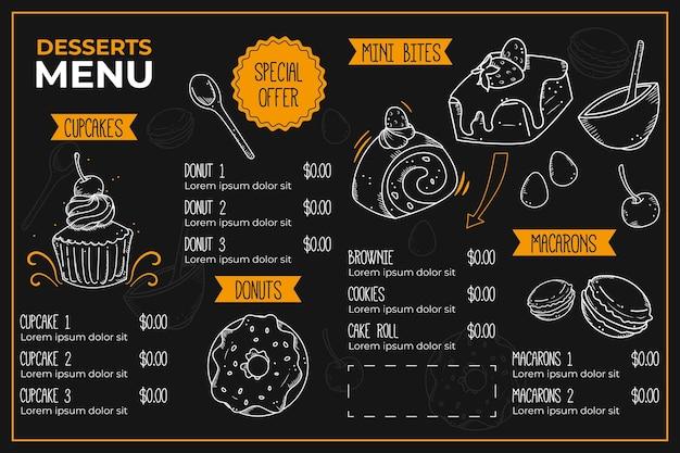 Plantilla de menú de restaurante digital creativo ilustrado vector gratuito