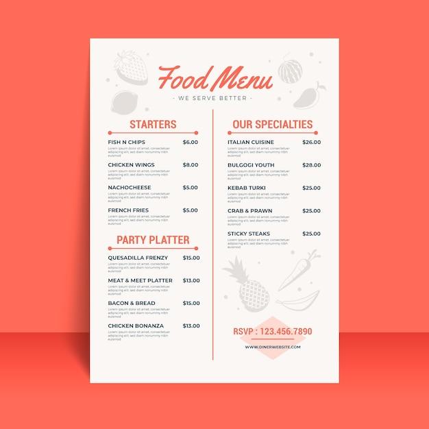 Plantilla de menú de restaurante digital con ilustraciones vector gratuito