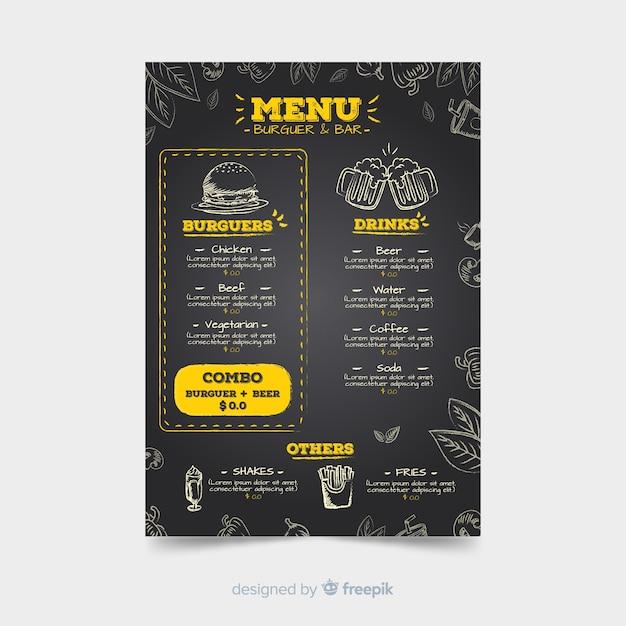 Plantilla de menú de restaurante con estilo de pizarra vector gratuito