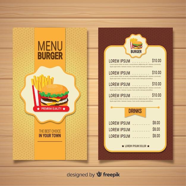 Plantilla de menú de restaurante de hamburguesas vector gratuito