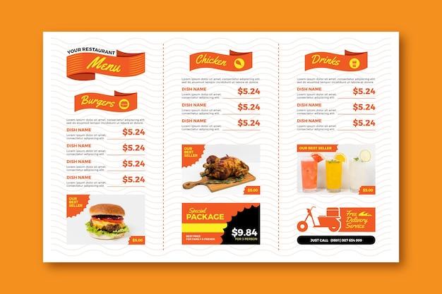 Plantilla de menú de restaurante horizontal digital de comida rápida vector gratuito