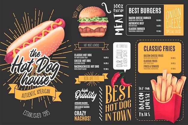 Plantilla de menú para el restaurante hot dog con ilustraciones vector gratuito