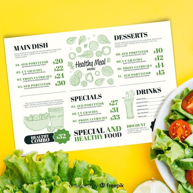 Plantilla de menú de restaurante con imagen vector gratuito