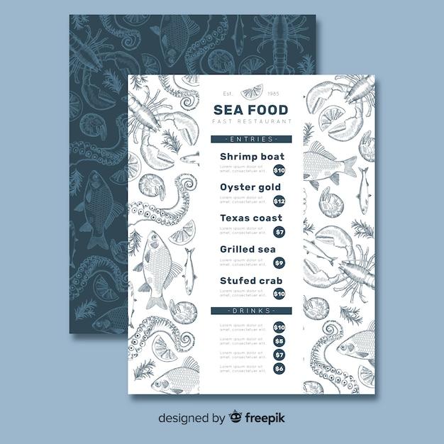 Plantilla de menú de restaurante de marisco vector gratuito
