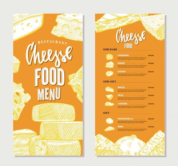 Plantilla de menú de restaurante de queso vintage vector gratuito