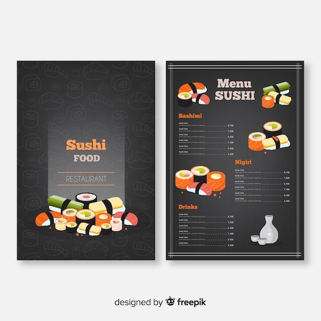 Plantilla de menú de restaurante de sushi colorido vector gratuito