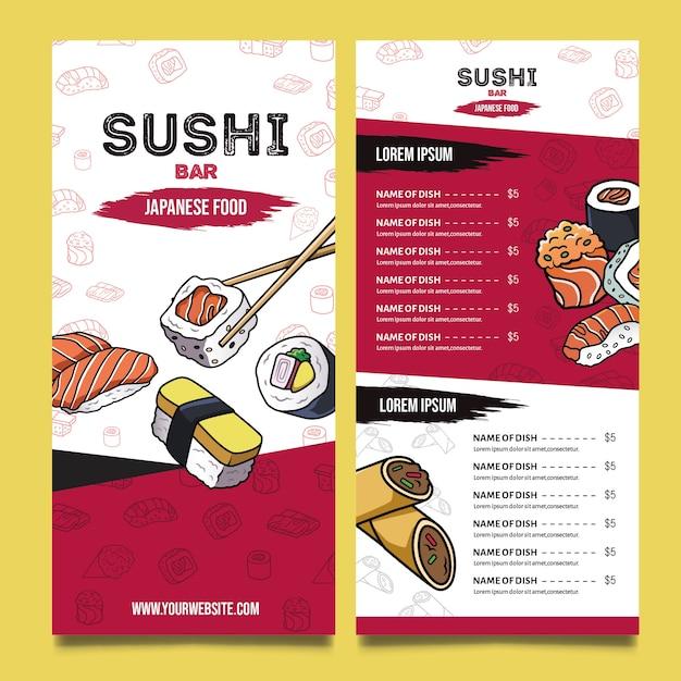 Plantilla de menú de restaurante de sushi delicioso vector gratuito