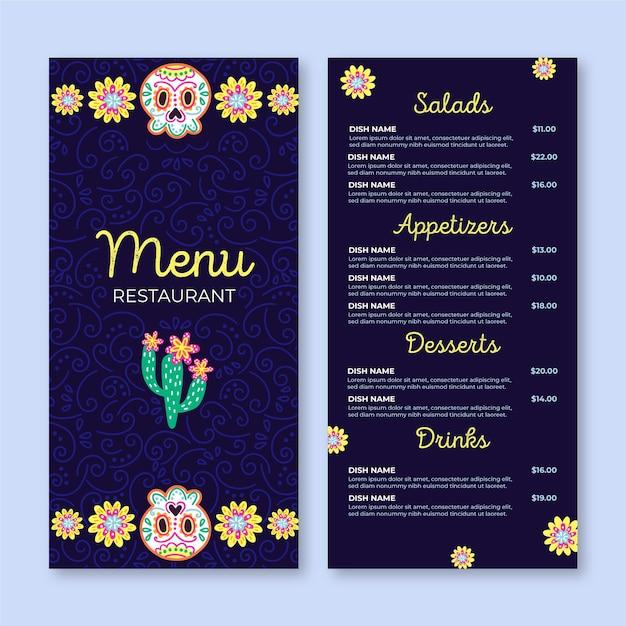 Plantilla de menú de restaurante viva mexico vector gratuito