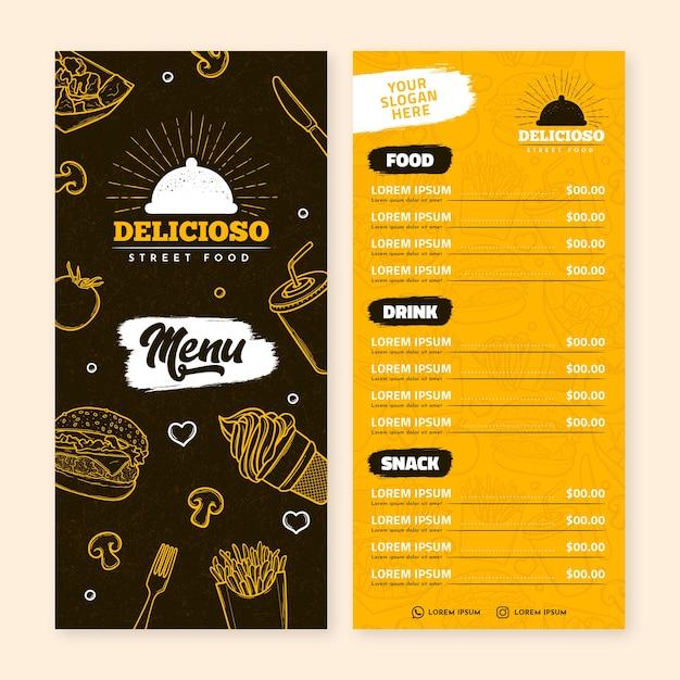 Plantilla de menú de restaurante vector gratuito