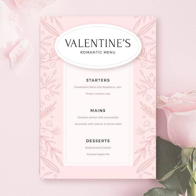 Plantilla de menú rosa de san valentín vector gratuito