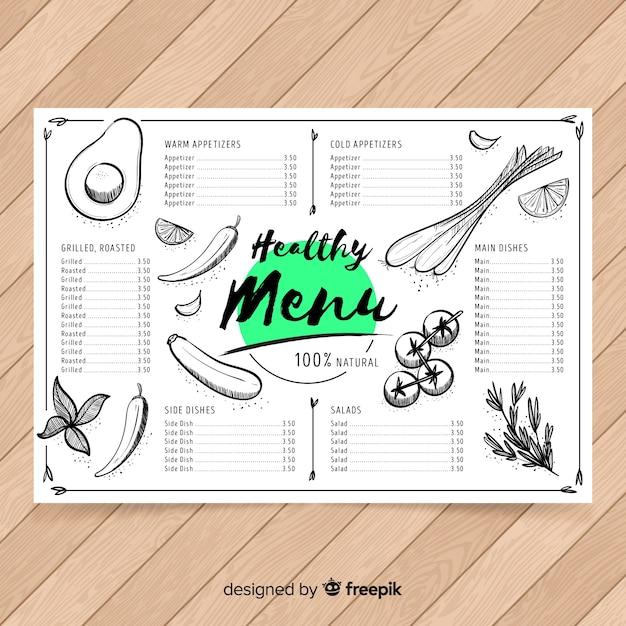 Plantilla de menu saludable dibujado a mano vector gratuito