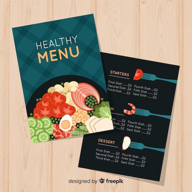 Plantilla de menu saludable en diseño plano vector gratuito