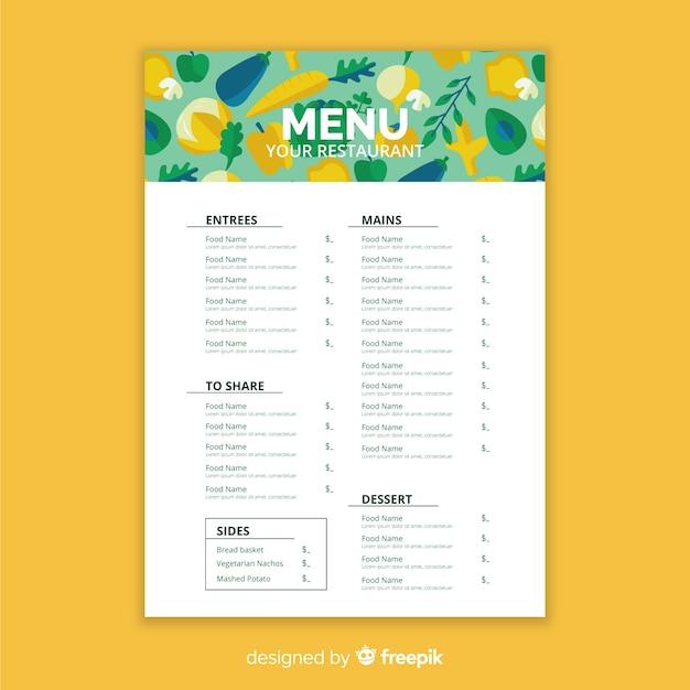 Plantilla de menú saludable vector gratuito