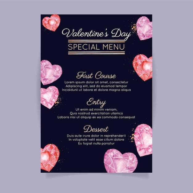 Plantilla de menú de san valentín acuarela con corazones de diamantes vector gratuito
