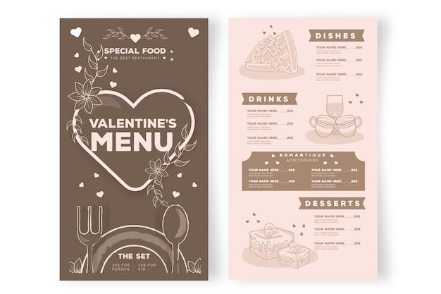 Plantilla de menú de san valentín de diseño plano vector gratuito