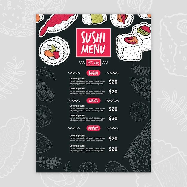 Plantilla de menú de sushi moderno vector gratuito