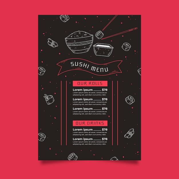Plantilla de menú de sushi vector gratuito