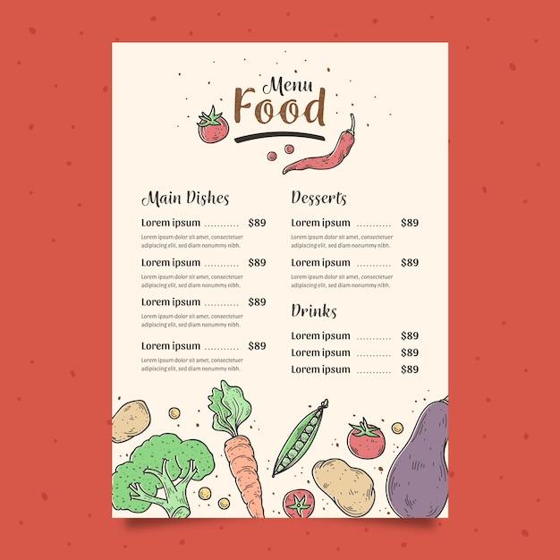 Plantilla de menú de verduras dibujadas a mano vector gratuito