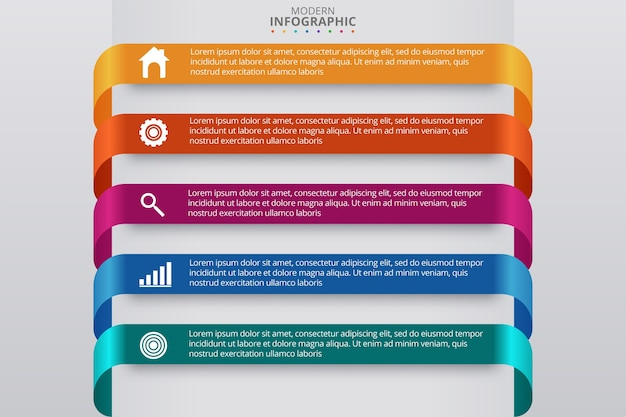 Plantilla mínima de infografías de negocios. ilustración vectorial vector gratuito