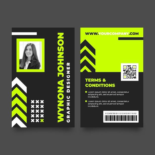Plantilla mínima de tarjetas de identificación con foto Vector Premium
