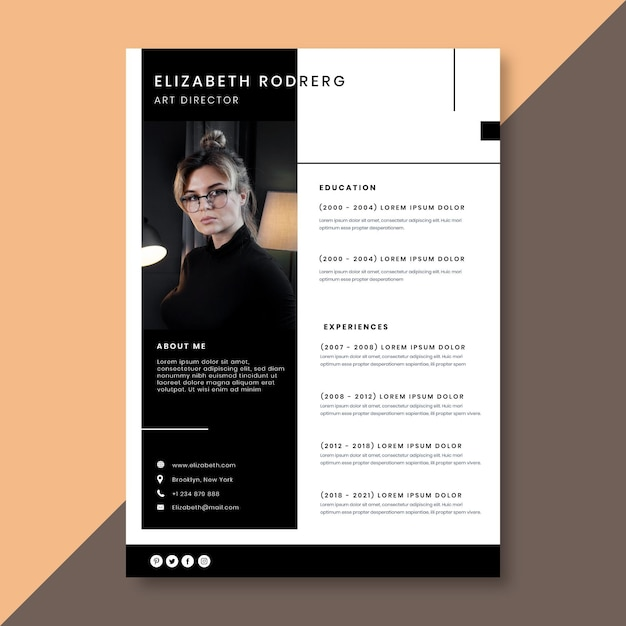 Plantilla minimalista de curriculum vitae con foto. vector gratuito