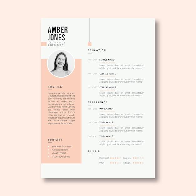 Plantilla minimalista de curriculum vitae rosa pastel vector gratuito
