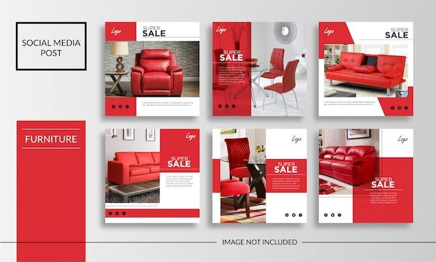 Plantilla de mobiliario de publicación de redes sociales Vector Premium